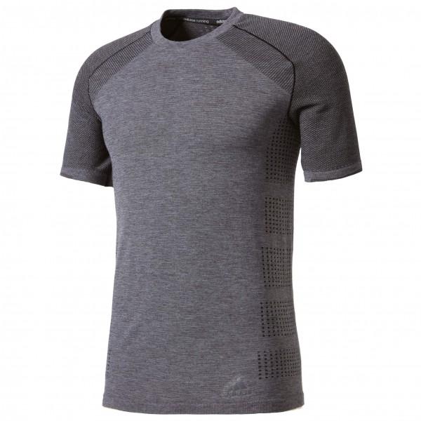 adidas Primeknit Wool Short Sleeve Tee Joggingshirt maat M grijs-zwart