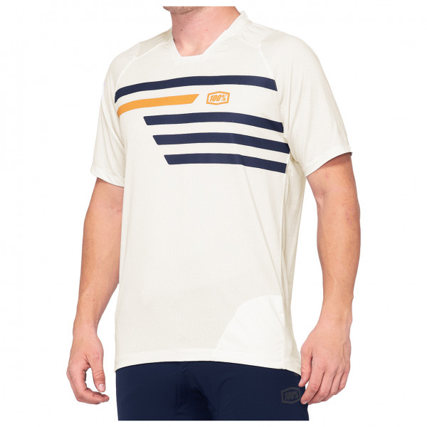 100% - Celium Enduro/Trail Jersey - T-shirt technique taille L;M;XL, blanc/beige;rouge/noir/beige