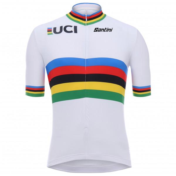 Santini - Uci World Champion S/s Jersey - Cycling Jersey Size Xs  Grey