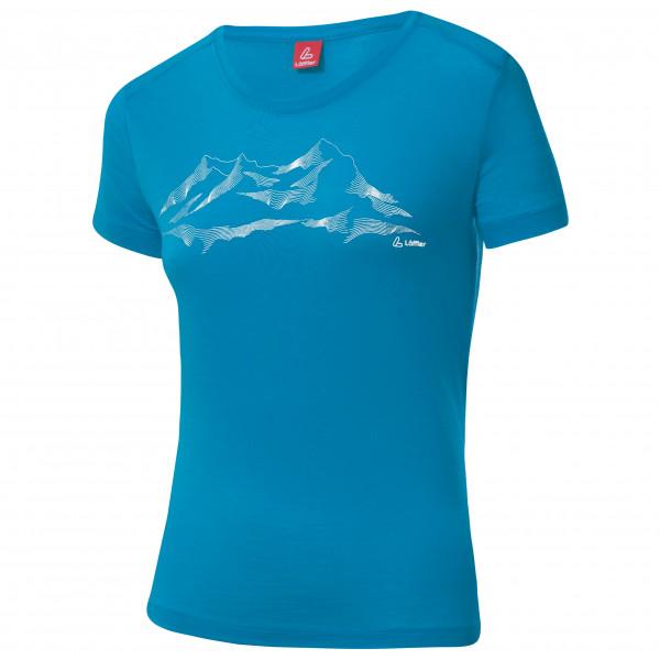 #Löffler – Women's Printshirt Merino – Merinounterwäsche Gr 44 blau#