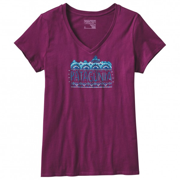 Patagonia - Women´s Femme Fitz Roy Cotton V-Neck T-Shirt Gr L;M;S;XL;XS grau;lila/rosa;blau;rot Sale Angebote