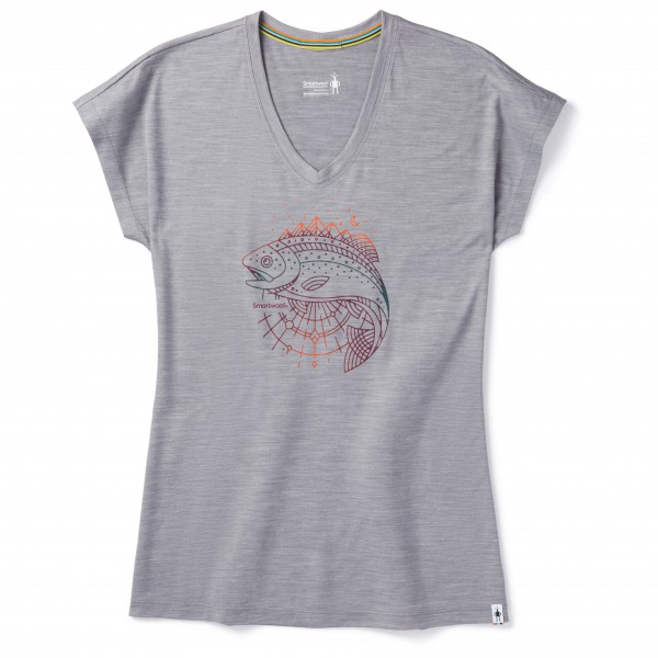 Smartwool - Women's Merino Sport 150 Midnight Trout Tee - T-Shirt Gr M light gray heather
