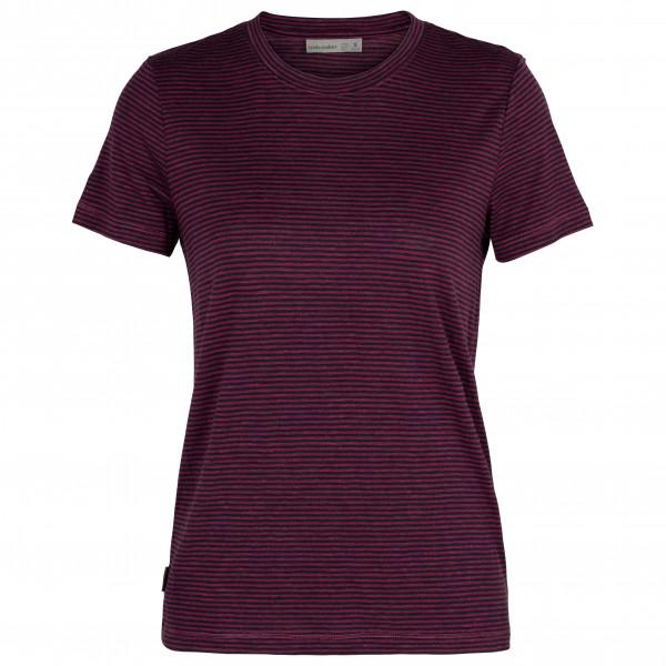 Icebreaker - Womens Dowlas S/s Crewe Stripe - Merino Shirt Size L  Purple
