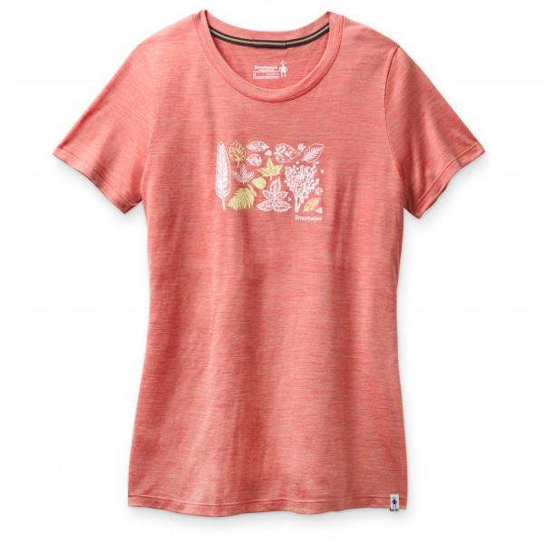 Smartwool - Womens Merino Sport 150 Spring Leaves Graphic Tee - Merino Shirt Size M  Red/sand