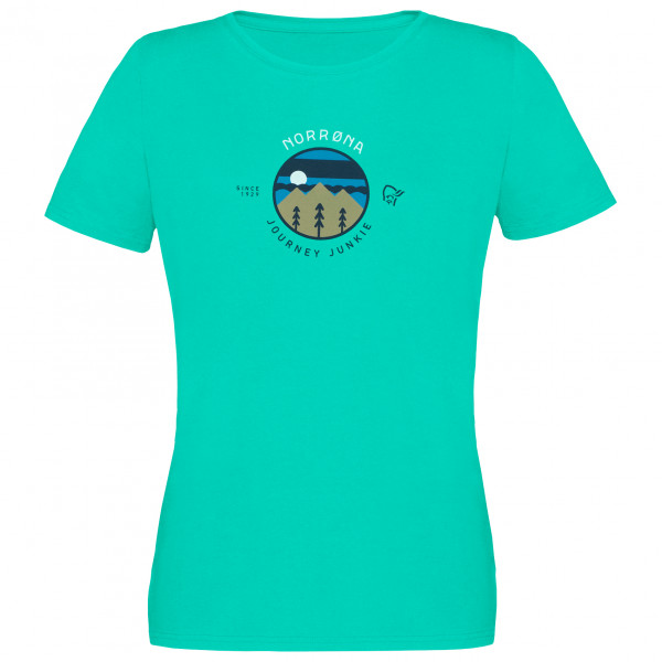 Norrna - Womens /29 Cotton Journey T-shirt - T-shirt Size L  Turquoise