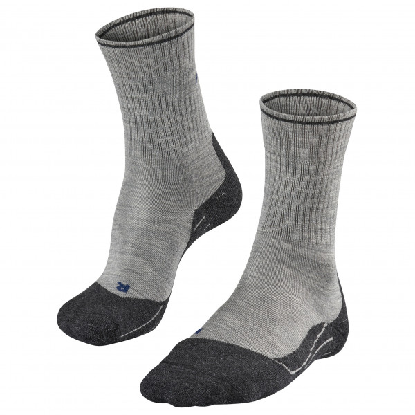 Falke - Womens Tk2 Wool Silk - Walking Socks Size 37-38  Grey/black