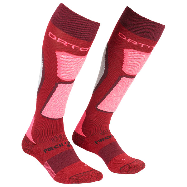 Ortovox - Womens Ski Rocknwool Socks - Ski Socks Size 42-44  Red/pink