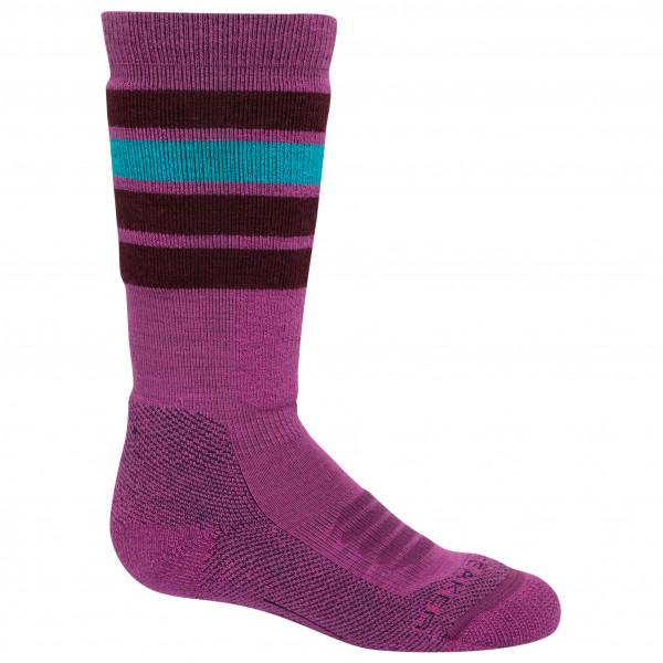 Icebreaker - Kids Ski Medium Over The Calf Stripe - Ski Socks Size S  Purple/pink