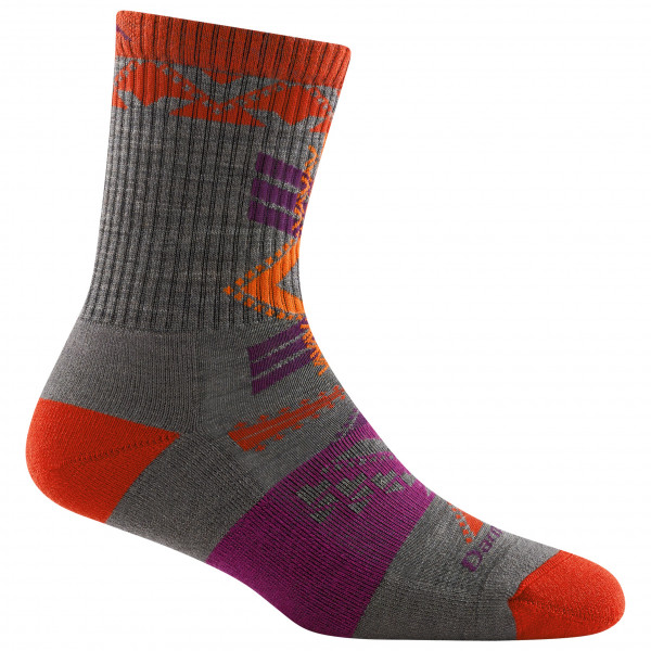 #Darn Tough – Women's Kaleidoscope Micro Crew Light w/ Cushion – Wandersocken Gr S schwarz/rot/lila#