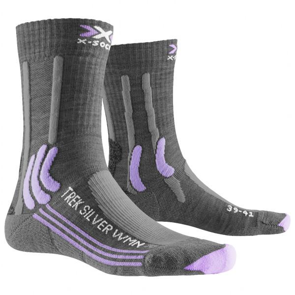 X-socks - Womens Trek Silver - Walking Socks Size 41/42  Grey/black