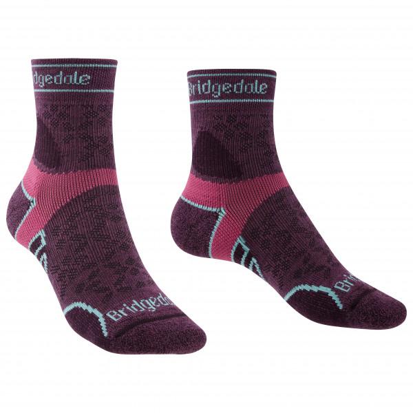 Bridgedale - Womens Trail Run Lightweight Merino Sport 3/4 Crew I - Running Socks Size M  Purple