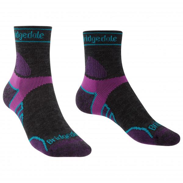 Bridgedale - Womens Trail Run Lightweight Merino Sport 3/4 Crew I - Running Socks Size L  Black/purple