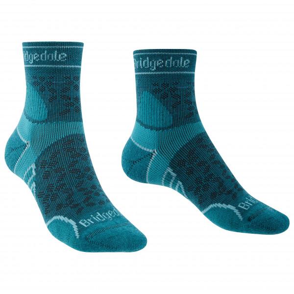 Bridgedale - Womens Trail Run Lightweight Merino Sport 3/4 Crew I - Running Socks Size L  Turquoise/blue