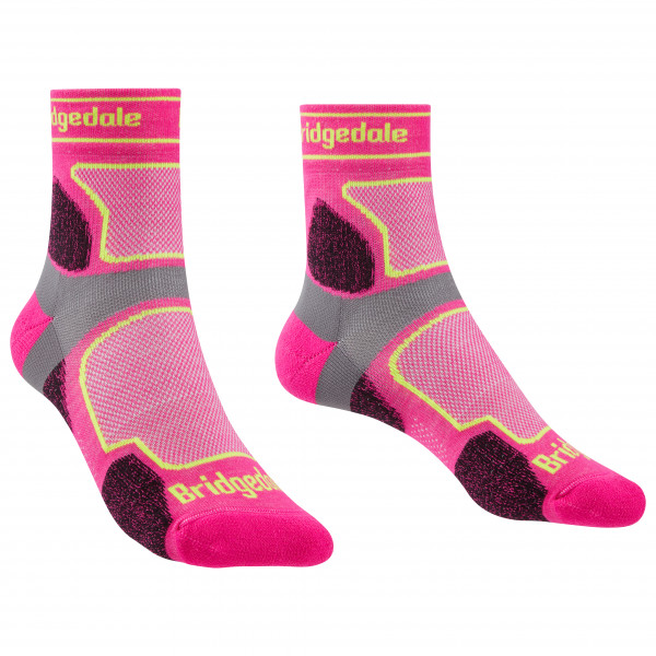 Bridgedale - Womens Trail Run Ultralight Coolmax Sport 3/4 Crew I - Running Socks Size L  Pink
