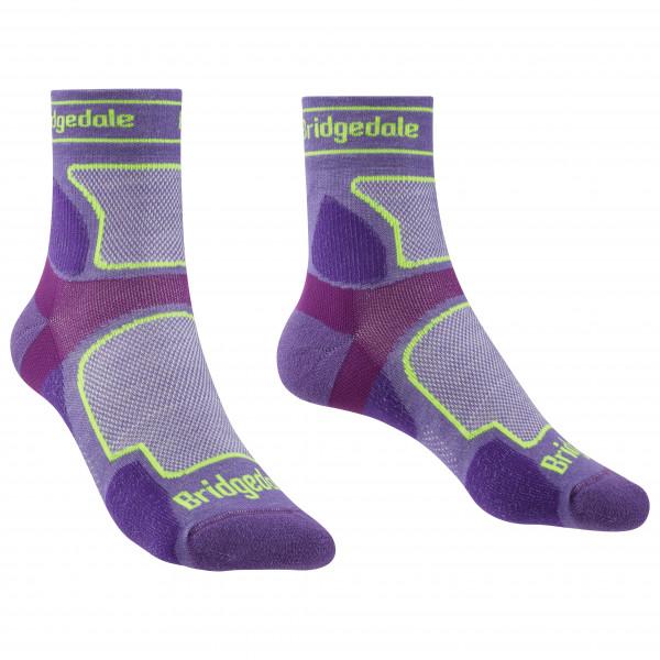 Bridgedale - Womens Trail Run Ultralight Coolmax Sport 3/4 Crew I - Running Socks Size M  Purple/grey