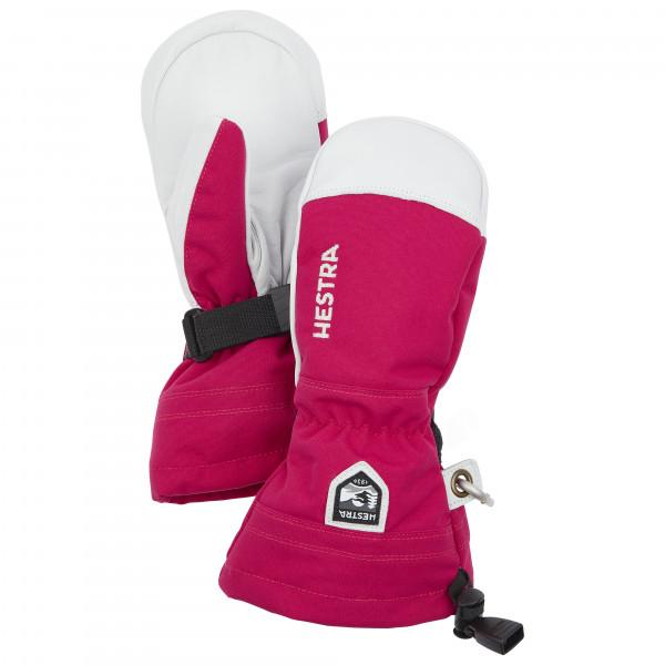 Hestra - Kids Army Leather Heli Ski Mitt - Gloves Size 4  Pink/grey/white