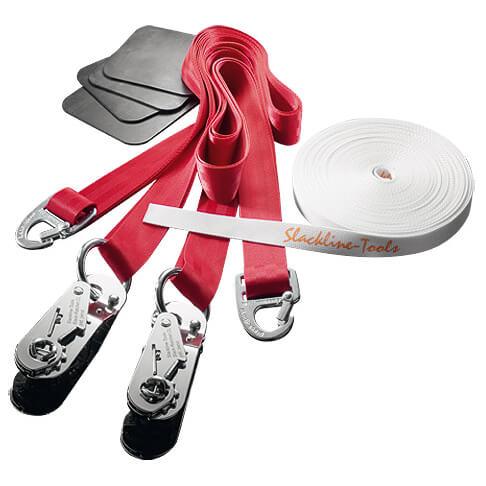 Slackline-Tools - Clip'n Slack Set 15 m - Slackline Gr 15 m rot/weiß 126