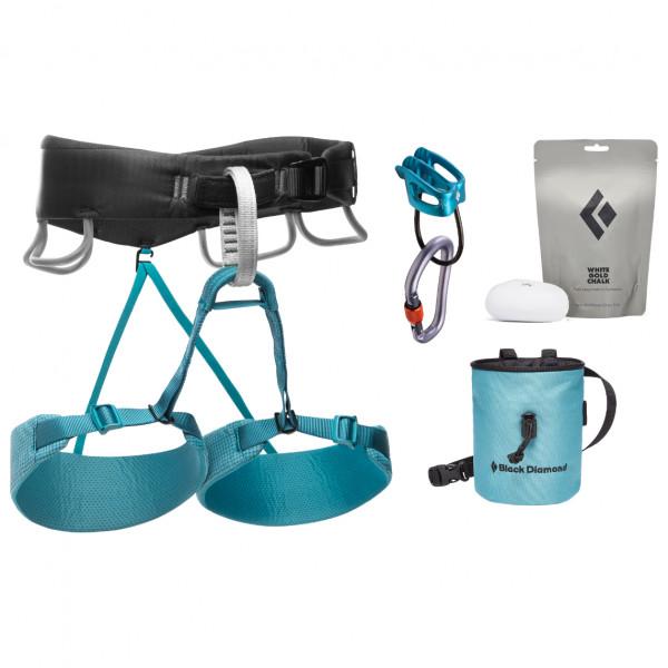 Black Diamond - Womens Momentum Harness Package - Climbing Set Size L  Turquoise/grey/black