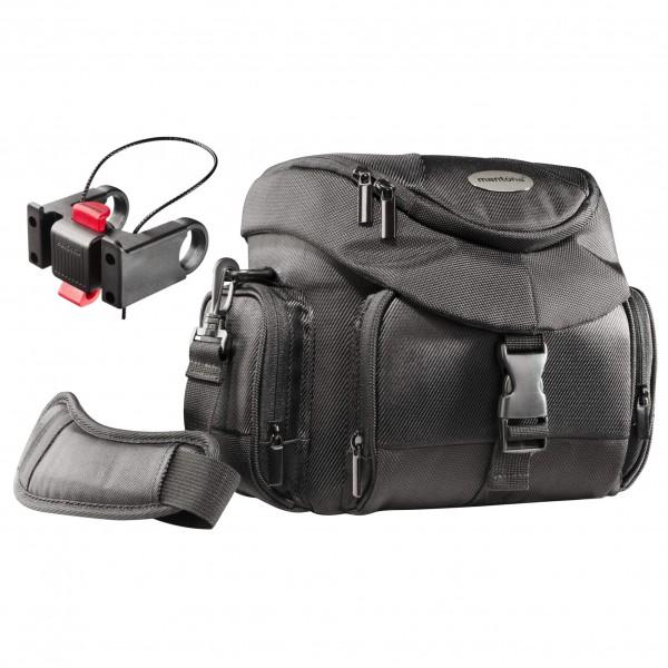 Mantona Set Premium Biker Fototasche inkl. Lenker Adapter maat One Size zwart