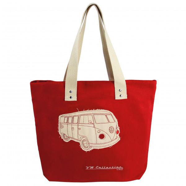 VW Collection - VW T1 Bus Shopper-Tasche Canvas - Umhängetasche Gr 35 x 40 x 10 cm rot/beige BUSB11