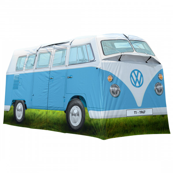 VW Collection - VW T1 Bus Grosses Campingzelt - 4-Personen Zelt Gr 398 x 187 x 157 cm grau/blau/oliv OL0179-BL