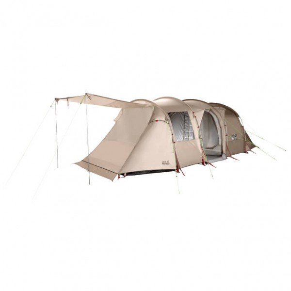 Jack Wolfskin Travel Lodge Real Tunnel Groepstent grijs-beige-wit