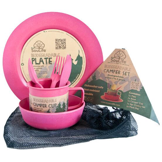 EcoSouLife - Camper Set - Kit de vaisselle taille Large Plate, rose