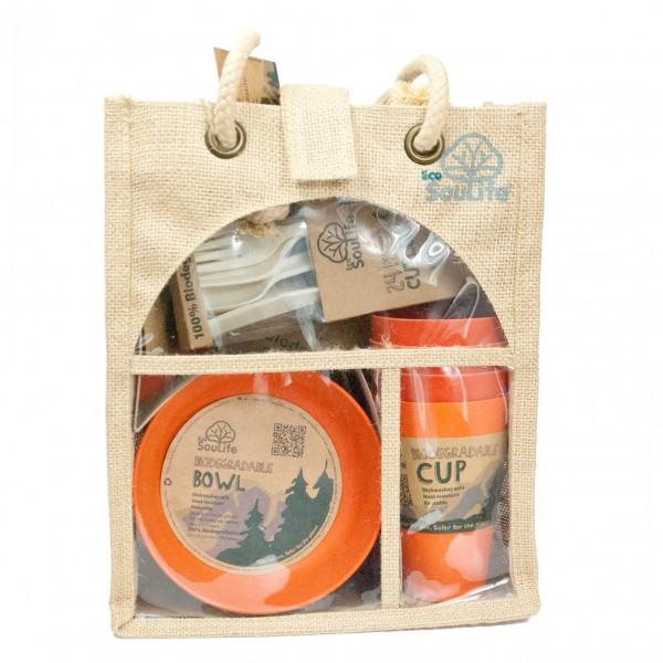 EcoSouLife - Picnic Set Geschirr-Set orange Sale Angebote