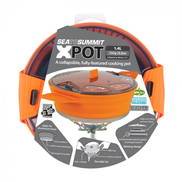 Sea to Summit - X-Pot - Topf Gr 1,4 Liter grau/orange AXPOT1.4OR