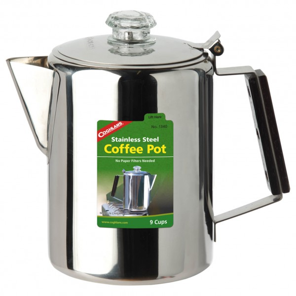 Coghlans - Edelstahlkanne Coffee Pot - Topf Gr 12 Tassen grau/schwarz 381342