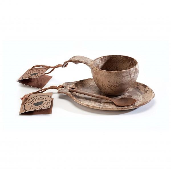 Kupilka - Geschenkset - Tasse, Untersetzer, Löffel braun/grau/beige/weiß 024550
