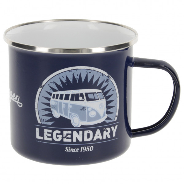 VW Collection - VW T1 Bus Emaille Tasse in Geschenkbox - Tasse Gr 500 ml grau/blau/schwarz BUTA30