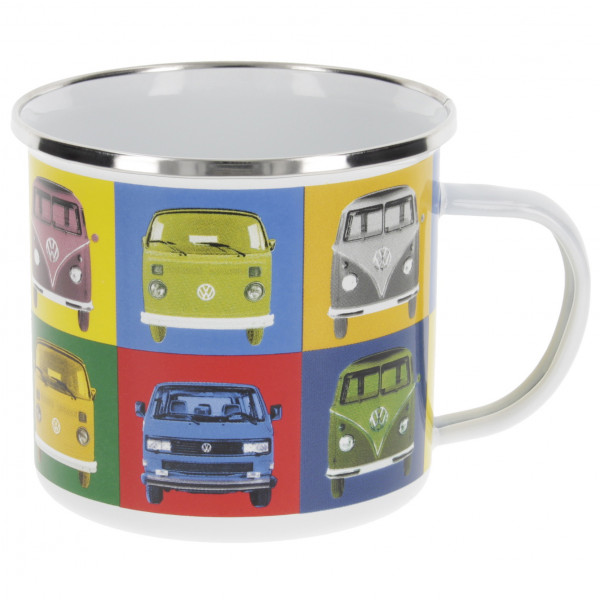 VW Collection - VW T1 Bus Emaille Tasse in Geschenkbox - Tasse Gr 500 ml grau BUTA30