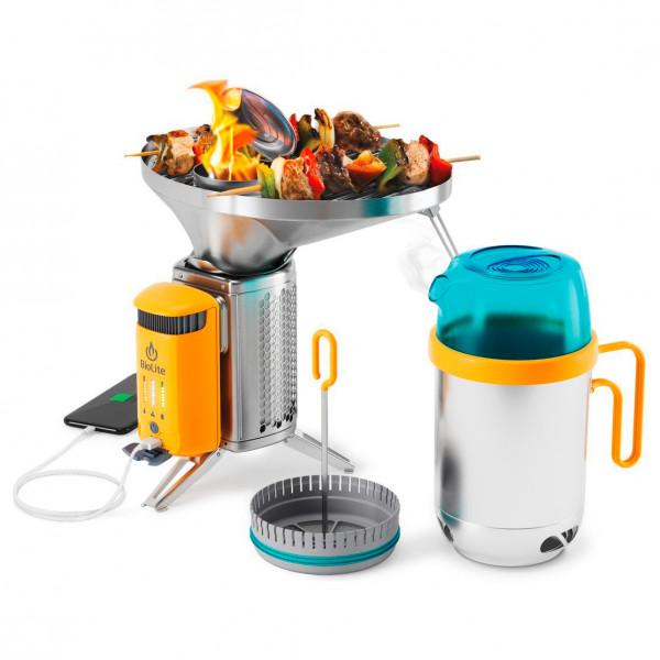 Biolite - Campstove Complete Cook Kit - Solid Fuel Stoves Stainless Steel /orange