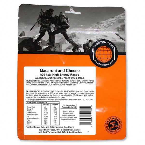 Expedition Foods - Macaroni And Cheese (High En...