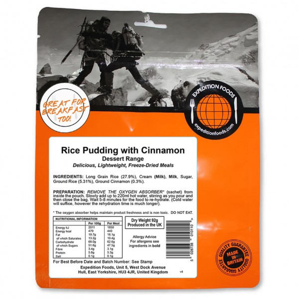 Expedition Foods - Rice Pudding With Cinnamon