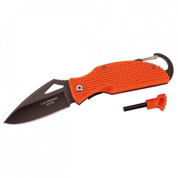 Herbertz - Einhandmesser mit Feuerstarter - Messer schwarz/orange 570310