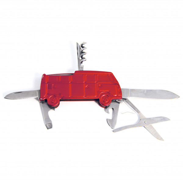 VW Collection - VW T1 Bus 3D Taschenmesser in Geschenkdose - Multi-Tool rot BUPK03