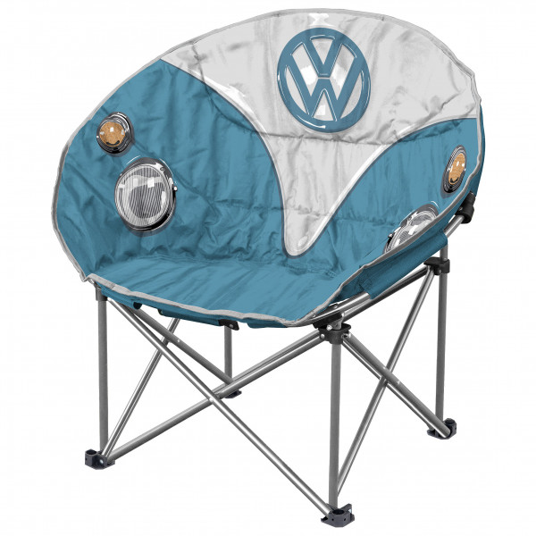 VW Collection - VW T1 Bus Faltbarer Sessel - Campingstuhl Gr 52 x 85 x 52 cm grau/blau OL0181-BL