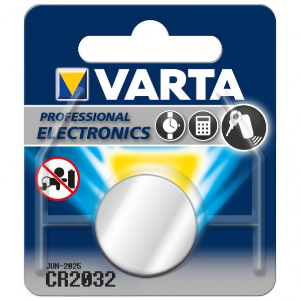 Varta - CR2032 - Knopfzelle Gr 3 V, 230 mAh - 1-Pack grau