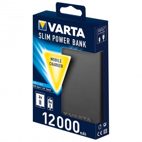 Varta - Portable Slim Power Bank + Micro USB Kabel - Akku Gr 12.000 mAh grau