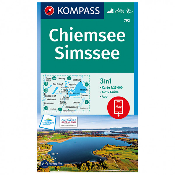 Kompass - Chiemsee, Simssee - Wanderkarte 1. Auflage - Neuausgabe 978-3-99044-594-5