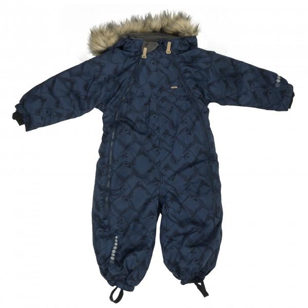 Minymo - Kid's Snow Suit Herringbone AOP Baby 2 Zippers Gr 74 schwarz/blau