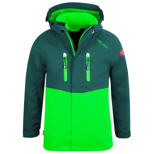 Trollkids - Kids Bryggen 3in1 Jacket - 3-in-1 Jacket Size 92  Green/turquoise/black