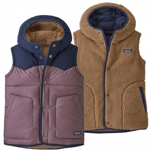 Patagonia - Girl's Reversible Bivy Hoody Vest - Daunenweste Gr L braun/grau 68320-HYSP-L