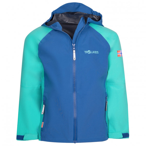 Trollkids - Girls Haugesund Jacket - Waterproof Jacket Size 98  Blue/turquoise