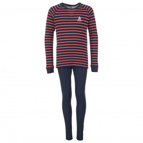 Odlo - Set Shirt L/S Pants Long Warm Kids Gr 164 schwarz/lila/grau