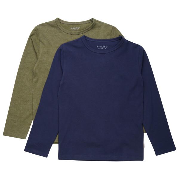 #Minymo – Kid's Basic 34 -T-shirt L/S (2-pack) – Longsleeve Gr 110;134;140 braun/grau/blau#