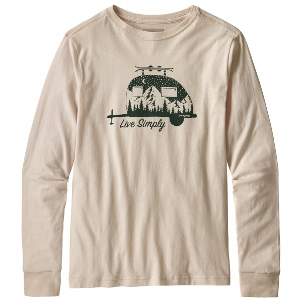 Patagonia - Kid´s L/S Graphic Organic T-Shirt - Longsleeve Gr S beige/weiß
