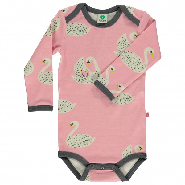 #Smafolk – Kid's Wool Mix Body L/S with Swans – Overall Gr 74 cm beige/rosa#